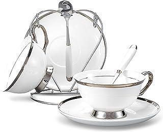 Panbado Service à Café Thé Porcelaine Anglais, Tasses à Thé Porcelaine à la Cendre d'Os 200ml avec Soucoupe Cuillère Port...