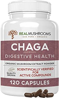 Sponsored Ad - Real Mushrooms Chaga Capsules for Digestive Health and Immune Support (120ct) Vegan, Non-GMO Chaga Extract ...