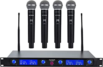 GEARDON Wireless Microphone System 4 Handheld Professional Fixed Frequency Channel Cordless Mics Set UHF Microphones With ...