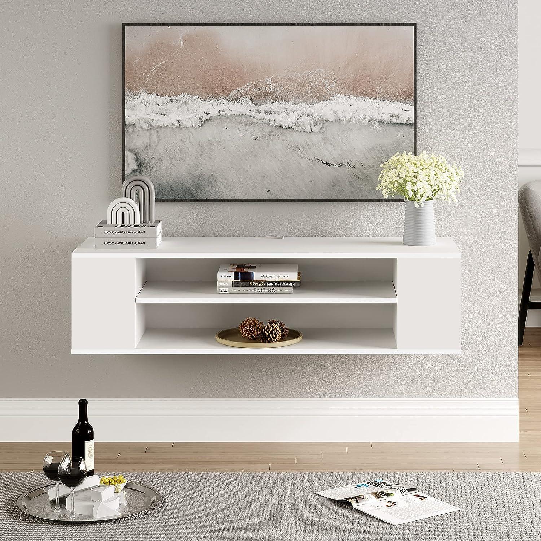 FITUEYES DS21WW TV Cabinet Hanging TV Lowboard White Matt ...