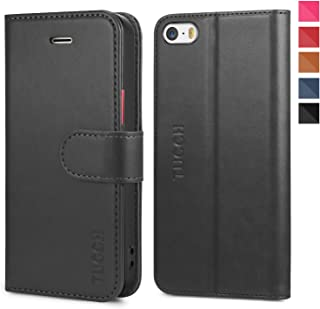 TUCCH iPhone SE Case, iPhone 5S Case, Wallet Cases Flip Leather Case Slim Folio Book Cover with Card Slots, Magnetic Closure Compatible with iPhone SE / 5s / 5,Black/Red