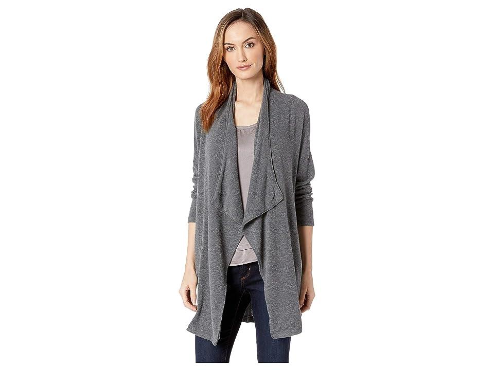 Mod-o-doc So Soft Sweater Knit Long Line Cardigan with Patch Pockets (Grey) Women