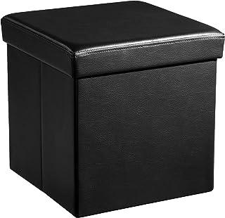 SONGMICS Coffre de Rangement Pliable Charge maximale 300 kg noir 38 x 38 x 38 cm LSF101