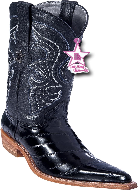 Women's 3X-Toe Genuine Leather EEL Skin Western Boots