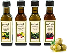Gourmet Olive Oil Gift Set and Balsamic Vinegar | Jalapeno Flavor 4-Pack 100ml Each Bottle | 100% Natural Flavors | Jalapeno, Roasted Chile and Lime, Chipotle, and Jalapeno Lime White Balsamic