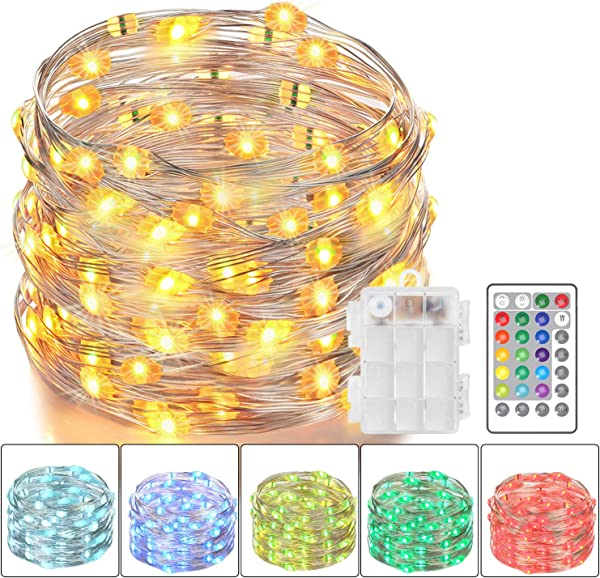 Asmader LED Fairy Lights Battery Powered Multi Color Changing String Lights With Remote Control Waterproof Decorative Silver Wire Lights 16ft 50LEDs For Bedroom Patio Indoor Party Garden 16 Colors
