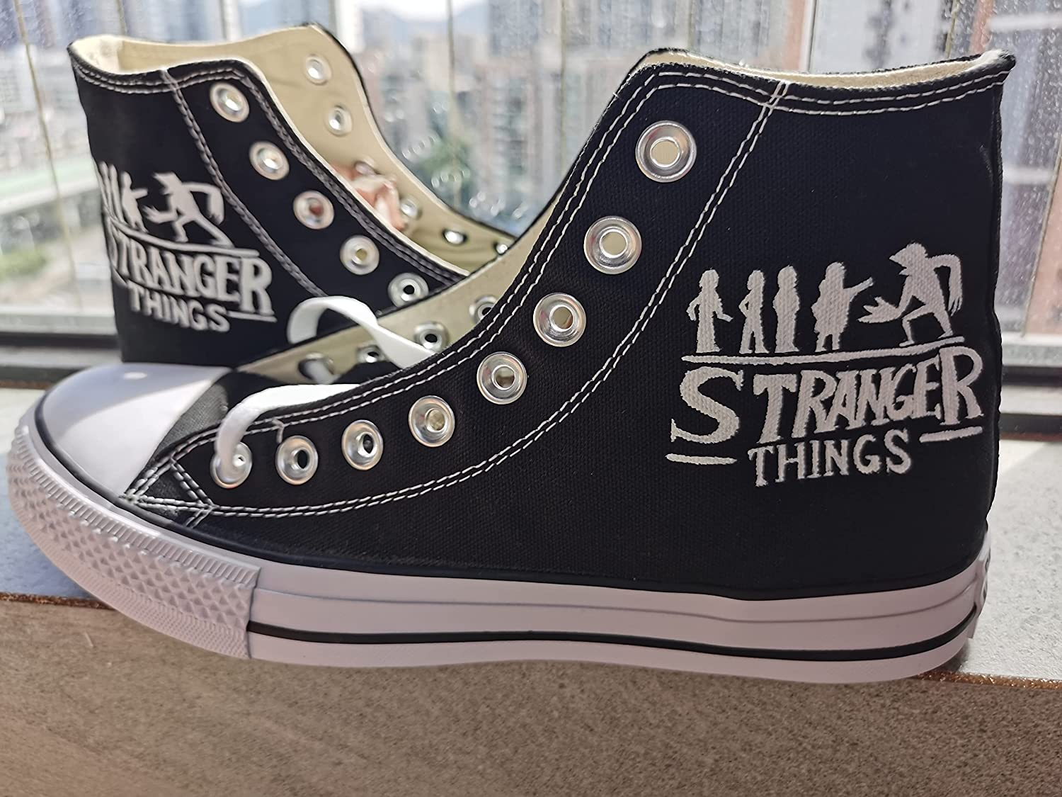 Stranger Things Shoes Hand Painted Sneakers quality assurance Men High 2021 autumn and winter new Women