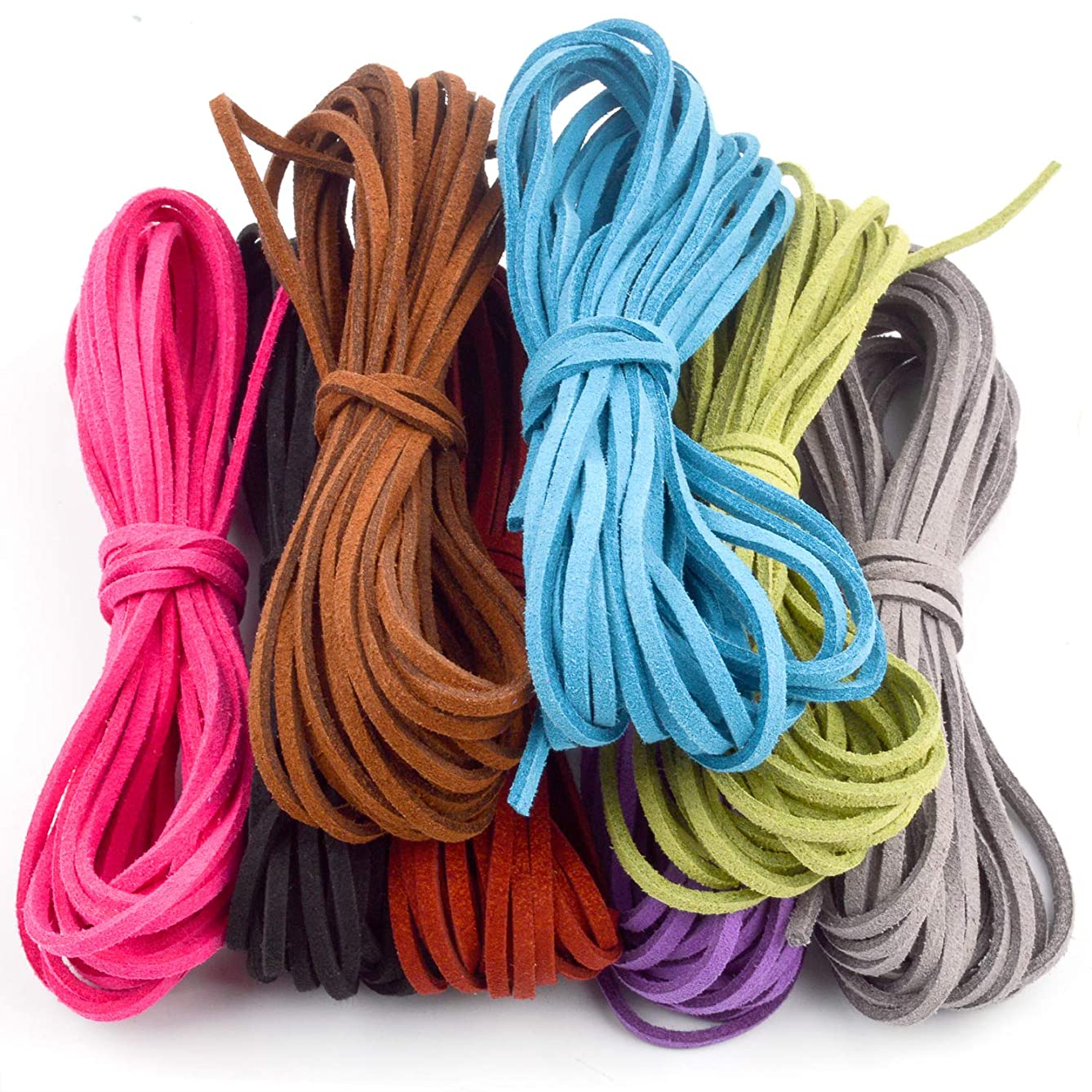 Jdesun 3mm x 5m Leather Cord Suede String for Bracelet Necklace Beading Jewelry DIY Handmade Crafts, 8 Pieces, 8 Colors