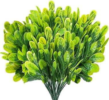 HUAESIN 4pcs Branche Artificielle Verte Arbustes Artificiels Buisson Artificiel Decoration Plante Artificielle Exterieur Inte