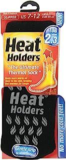 HEAT HOLDERS mens Grabber Heat Holders Mens Slipper Sock-Black/Gray 4013129, Black, 7-12 us