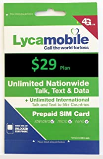 Lycamobile Triple Cut Sim Card With Preloaded Prepaid Sim Card $29 Plan 4GB Data