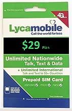 Lycamobile Triple Cut Sim Card With Preloaded Prepaid Sim Card $29 Plan 4GB Data