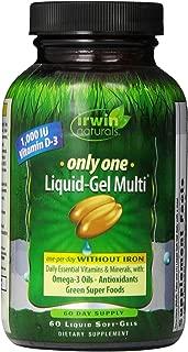 Irwin Naturals Only One Liquid-Gel Multi - No Iron Daily Essential Vitamins, Minerals, Antioxidants, Omega-3 & Green Super Foods - 60 Liquid Softgels