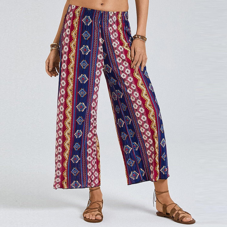 Women's Striped Printed Wide Leg Pants High Waist Casual Elastic Cuffs Trousers
