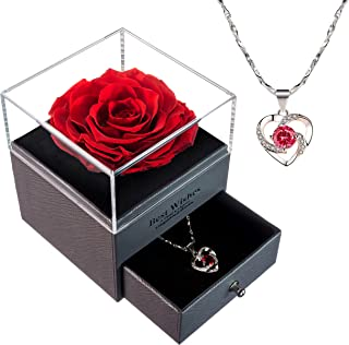Eternal Enchanted Forever Preserved Rose LOVAPPY with Necklace - Infinity Rose in Love Box - Made from Real Fresh Beauty R...