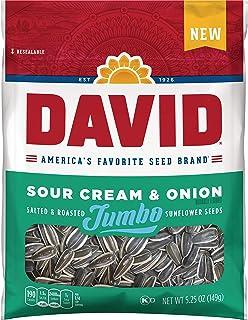 DAVID Sour Cream & Onion Jumbo Sunflower Seeds, Keto Friendly, 5.25-oz. Resealable Bag