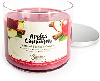 Apples & Cinnamon Scented 3 Wick Candle - All Natural - Made with 100% Responsibly Sourced Soy and Essential Fragrance Oil...