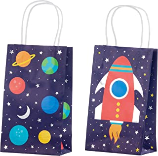 Outer Space Galaxy Gift Bags – 24-Pack Kids Treat Bags with Handles, Paper Goodie Bags for Retail, Gifts, Party Favors, 2 Assorted Designs with Silver Foil Accents, 9 x 5.3 x 3.15 Inches