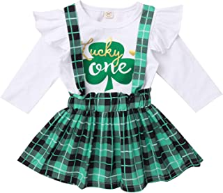 Aiihoo Toddler Baby Girls 2Pcs Clover Clothes Set Long Sleeves Ruffle Shirt Tops with Suspender Skirt