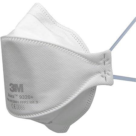 3M Aura série 9300+ - Masque antipoussière jetable et pliable en 3 panneaux 3M 9320+SP - Niveau de protection FFP2 - 1 x 5 masques blancs