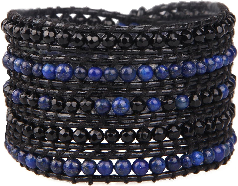 KELITCH Friendship Leather Rapid rise Bracelet Black We OFFer at cheap prices Onyx Wrap Beads Bracel