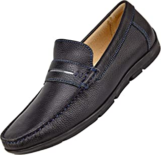 Boy's Slip On Loafers -Dress and Casual Moccasins -Genuine Leather, Rubber Sole