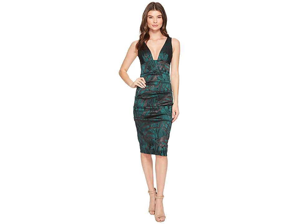 Nicole Miller Stroked Lurex Tuck Dress (Green Multi) Women