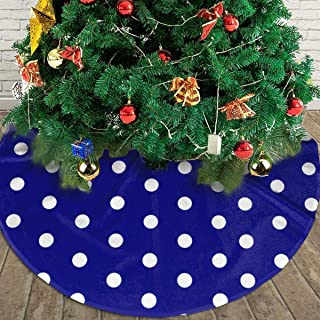 SYSKFUl Christmas Tree Skirt White Blue Dots Polka Hexagon Navy Tree Skirt Christmas Decorations Indoor Outdoor New Year Holiday Party Jewelry