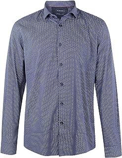 07ef4239b89f B-STYLE Camicia in Cotone Elasticizzato - Microfantasia Blu Uomo Cotone