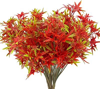 5PCS Artificial Fall Maple Leaves Branches Decoration,Faux Plastic Thanksgiving Autumn Fall Leaves Stem Greenery Shrubs Plants Indoor Outdoor Home Fireplace Office Garden Party Table Decor (Red Green)