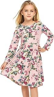 Little Girls Long Sleeve A-Line Dress Floral Print Midi Skater Dress