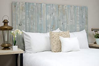 Blue Powderwash Headboard Weathered King Size, Hanger Style, Handcrafted. Mounts on Wall. Easy Installation