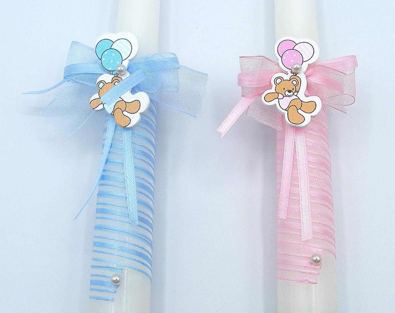 medidas 30x2 cm azul personalizado Vela de bautizo,Decoradas con cinta en espiral y un lacito con perla y un osito colgado de globos
