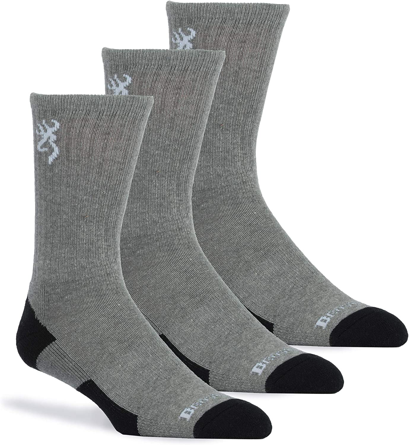 Browning Men's 3-Pack Everyday Crew, Heather Gray/Heather Gray/Heather Gray, Large