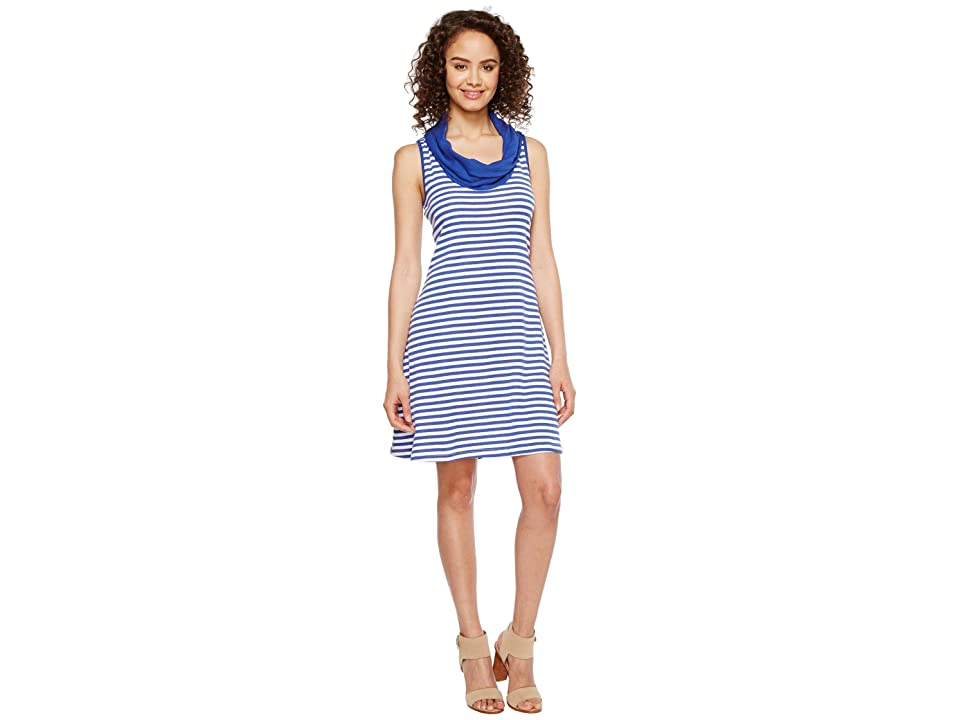 Three Dots Mykonos Stripes Cowl Neck Dress (Mystic Blue/White) Women