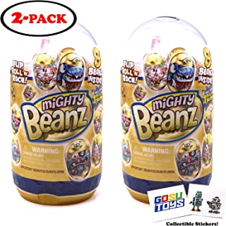Mighty Beanz Golden Slam Pack (2 Pack) with 2 GosuToys Stickers Gift Bundle - 16 Mighty Beanz Total