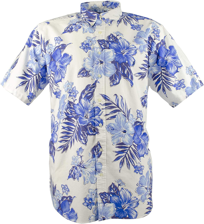 Men's Big and Tall Floral Print Oxford Shirt