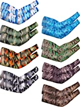 Bememo 8 Pairs Unisex UV Sun Protection Arm Sleeves Ice Silk Arm Cooling Sleeves