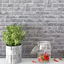 "Timeet Brick Peel and Stick Wallpaper Self-Adhesive 17.7"" x 78.7"" Brick Textured Wallpaper Removable Film for Room Decor,Gray"