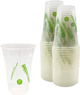 Repurpose 100% Compostable Plant-Based Clear Cold Cup | 16 Ounce Party Cups | 50 Cups