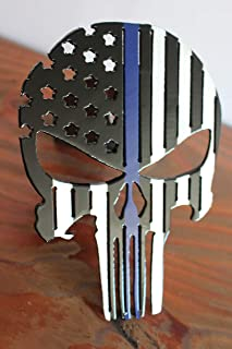 Punisher Flag Trailer Hitch Cover With Blue Line