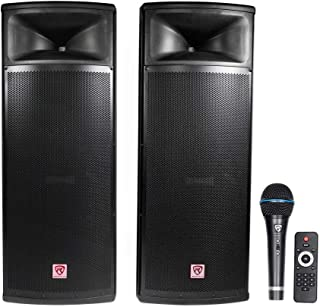 "Rockville Pair Dual 15"" 2000w Powered DJ Speaker System w/Bluetooth+Mic, (RPG225K)"