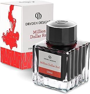 Dryden Fountain Pen Ink Bottle (50 ml) Luxury Edition, (Million Dollar Red) Fountain Pen Bottled Ink. Compact Designed Bottle (Model: Smooth flow 50ml)