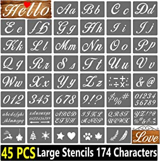 Mikiwon Letter Stencils for Painting on Wood - 45 Pcs Alphabet Stencils with Numbers and Signs, Reusable Plastic Art Craft...