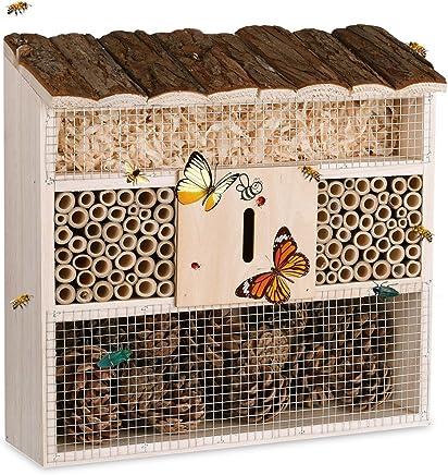 Deuba® Insektenhotel Natur Holz | 31 x 31 cm Brutkasten Schmetterlinge Bienen Insekten Nistkasten | Vogelschutz Metallgitter Garten
