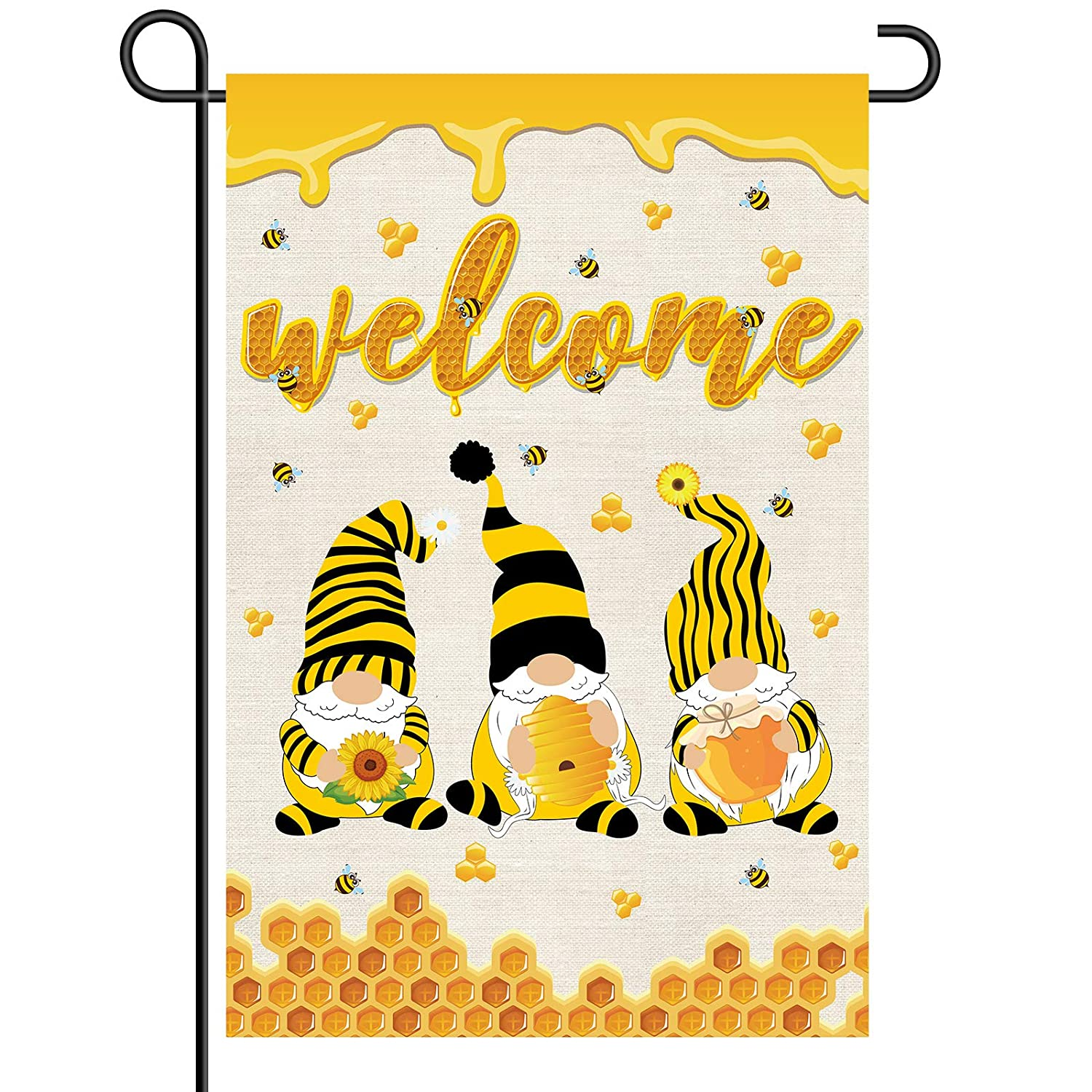 Welcome Gnome Garden Flag,Spring Summer Bee Gnomes Garde Double Sided,Seasonal Holiday Welcome Gnome Outdoor Garden Decoration,12.5 x 18 Inch