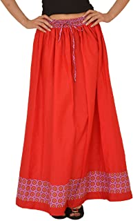 SNS Pure Cotton Jacquard Solid Long Maxi Skirt with Printed Border for Girls and Women