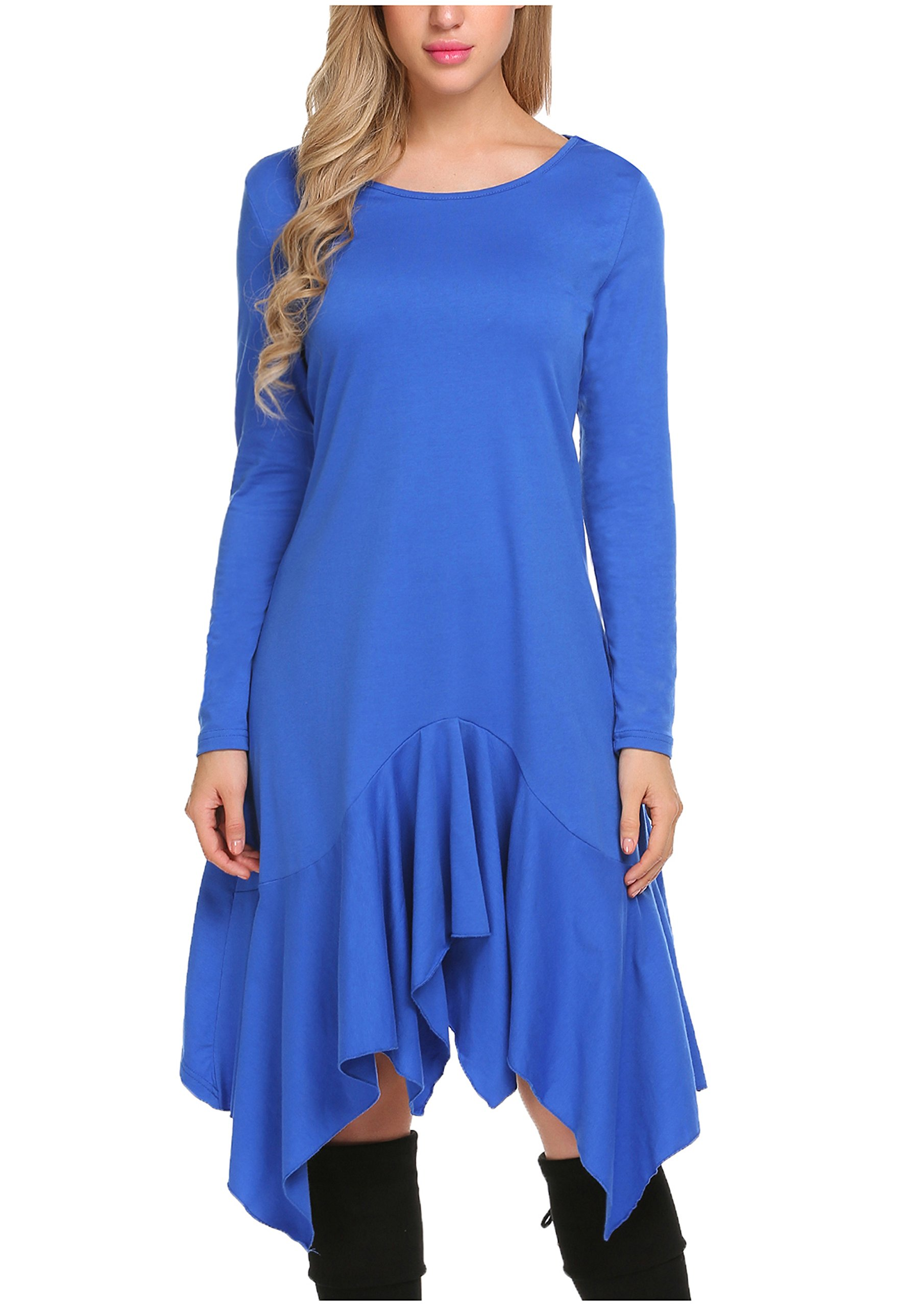 Available at Amazon: Beyove Women's Casual Loose Fit Long Sleeve T Shirt Dress Basic Midi Tunic Dress Light Blue
