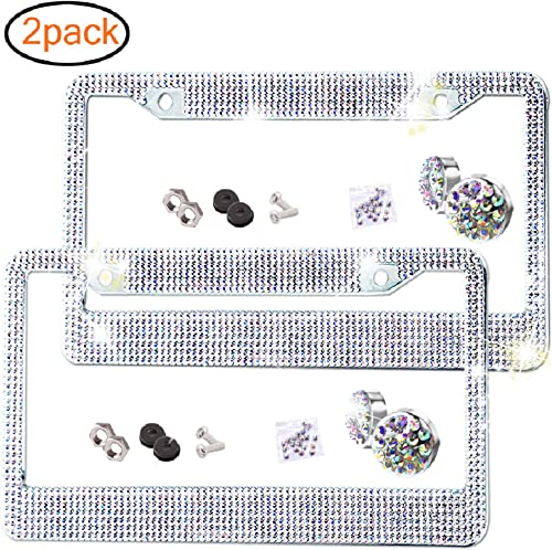 2 Pack Bling License Plate Frame Premium Stainless Steel Metal License Plate Cover Pure Handmade Glitter Rhinestones ...
