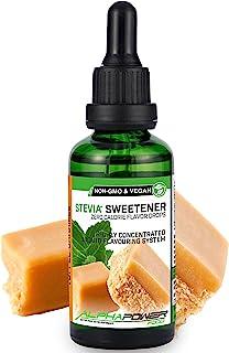 ALPHA POWER FOOD®: Stevia líquida natural - Stevia Gotas de toffee-caramelo, Edulcorante natural, sustituto del azúcar con sabor - sin azúcar & calorías
